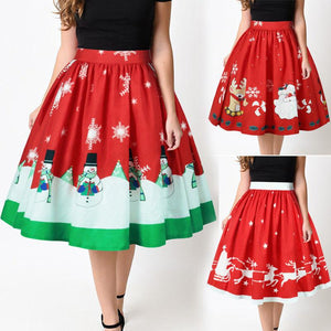 Women Christmas Evening Cocktail Party Petty skirt Bubble Skirt Snowmen Santa Redliilgal-liilgal