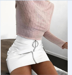 2018 New Fashion Skirt Women White PU Leather Pencil High Waist Miniliilgal-liilgal