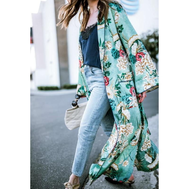 Women Autumn Floral Long Coat Boho Long Sleeve Casual Looseliilgal-liilgal