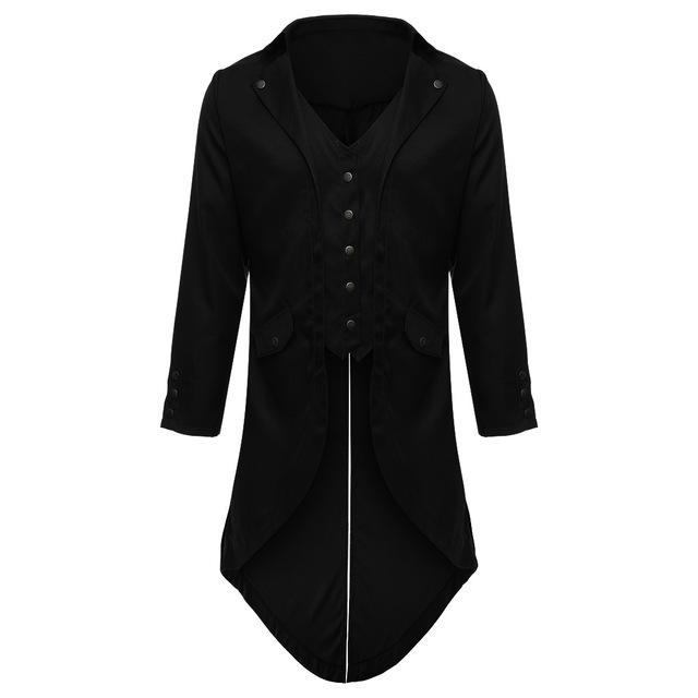 2018 Retro Classic Men Coats SteamPunk Tuxedo Gentleman Jackets Black Male Partyliilgal-liilgal
