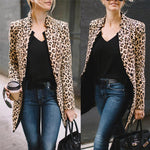 Women Leopard Printed Sexy Winter Warm Wind Coat Cardigan Long Coat Casualliilgal-liilgal