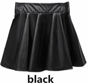 Sexy Women Slim PU Skirt High Waist Short Mini Skirt Pleatedliilgal-liilgal