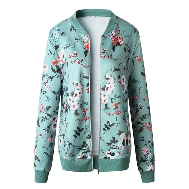 Autumn Hooded Jacket Harajuku Zipper Pockets Bomber Womens Jackets Casual Floral Printliilgal-liilgal