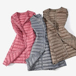 Autumn Winter Ultra Light Down Vest Women Windproof Sleeveless Lightweight Long Waistcoatliilgal-liilgal
