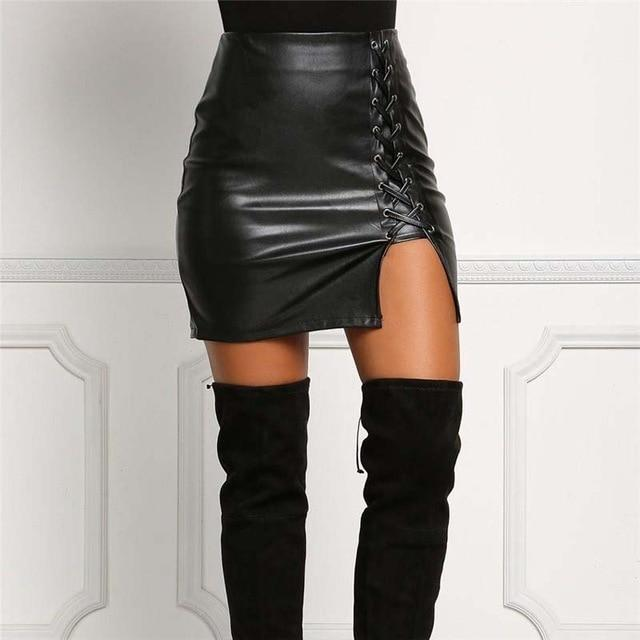 Black Lace Up PU Leather Skirts Autumn Spring Women Side Split Pencilliilgal-liilgal
