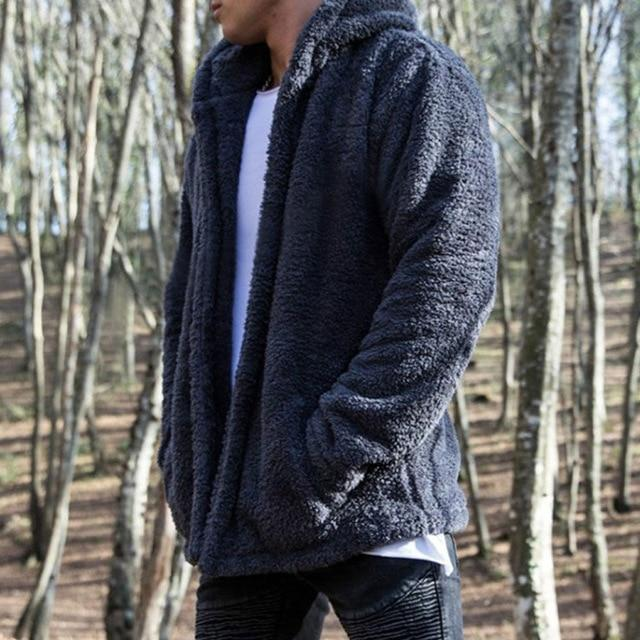 Hirigin Mens Coat Autumn Winter Casual Loose Double-Sided Plush Hoodie Fluffy Fleeceliilgal-liilgal