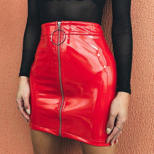 Hot Selling Women High Waist PU Leather Mini Skirt Sexy Ladies Pencilliilgal-liilgal