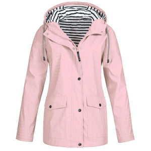 Rain Coat Women Plus Size Coat 2018 Long Sleeve Waterproof Jacket Hoodedliilgal-liilgal