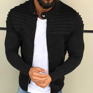 New Men's Winter Zip up Slim Collar Shoulder Ruched Jacket Tops Longliilgal-liilgal