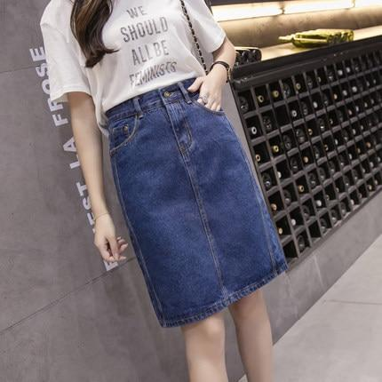 Plus Size 5XL 2018 Fashion Woman Skirts Slim High Waist Denim Skirtliilgal-liilgal