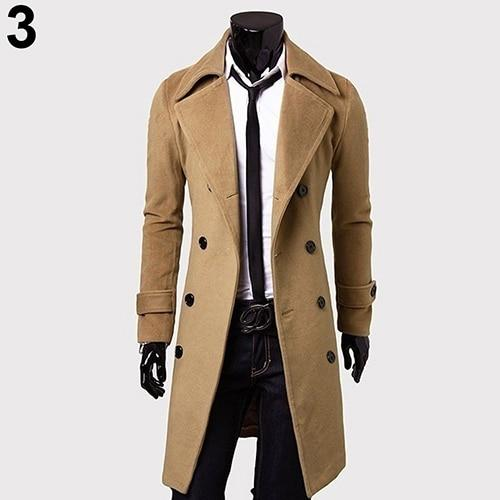 Men's Fashion Trench Coat Winter Long Jacket Double Breasted Overcoat Outwearliilgal-liilgal