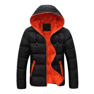 Simple Hooded Jacket Coat for Men Padded Warm Down Casual Thick Zipperliilgal-liilgal