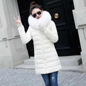 2018 New Winter Jacket Women Parka Fake Fur Collar Down Wadded Jacketliilgal-liilgal