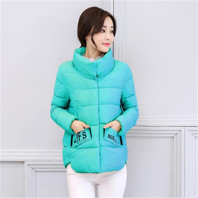 New Autumn Winter Parkas for Women 2018 Cotton Jackets Short Coat printliilgal-liilgal