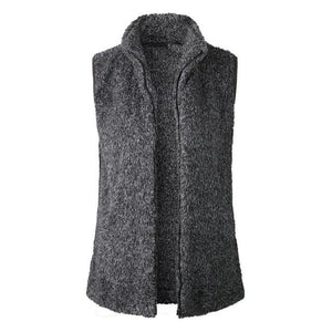 Women Fleece Vest Stand Collar Warm Zip Up Faux Fur Solid Colorliilgal-liilgal