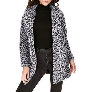 Women Leopard Sexy Winter Warm Faux Fur Coat Cardigan Outwear Coat Jacketliilgal-liilgal
