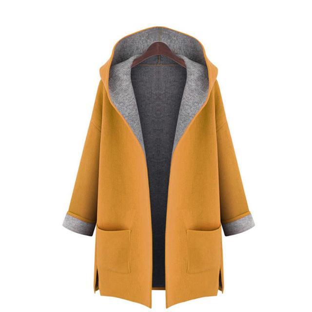 DERUILADY 2018 Autumn Winter New Wool Coat Candy Color Plus Size Womenliilgal-liilgal