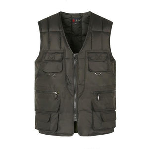 Multi Pocket Cotton Vest For Men Winter Padded Casual Thick Warm Photographerliilgal-liilgal