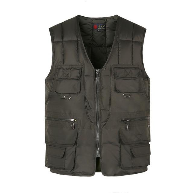 Cotton Vest For Men With Many Pockets Winter Thick Warm Multi Pocketliilgal-liilgal
