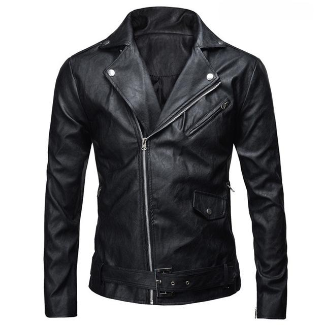 New Fashion Men's PU Leather Jacket Autumn Winter Slim Fit Motorcycle Jacketliilgal-liilgal