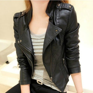 Autumn Korean New Fashion Women Faux Leather Stand Collar Jackets Lady Motorcycleliilgal-liilgal