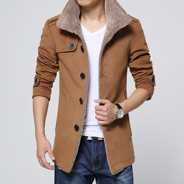 Men warmth windproof Jackets And Coats Long Wool no cap pocketliilgal-liilgal