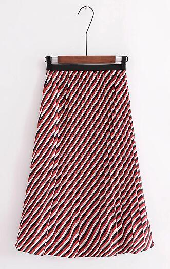 Women Vintage england style Slanted striped pleated mid calf slim Skirt ladyliilgal-liilgal