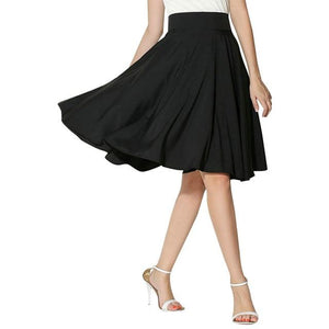 Womens Solid Casual Skirts Retro Flared Knee Length Pleated Skirts Autumn Simpleliilgal-liilgal
