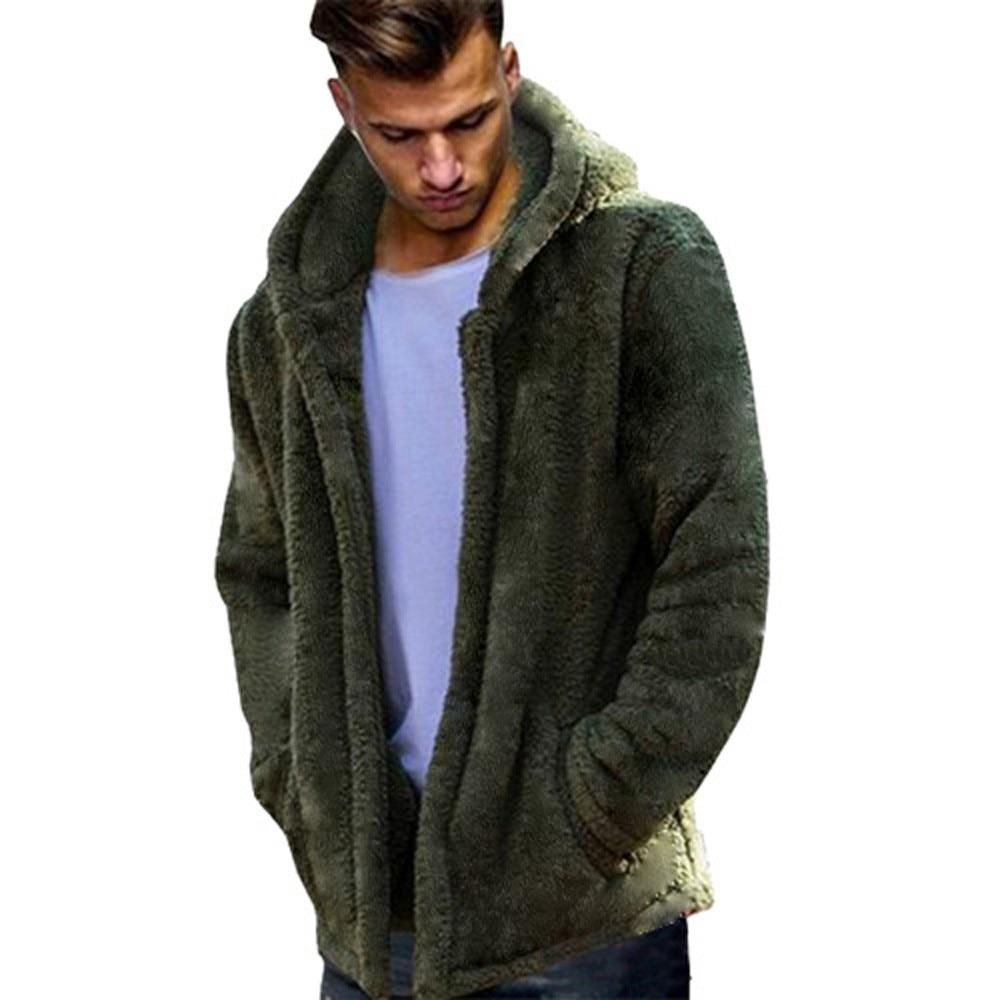 Fashion Men's Autumn Winter Casual Loose Double-Sided Plush Hoodie Tops Coatliilgal-liilgal