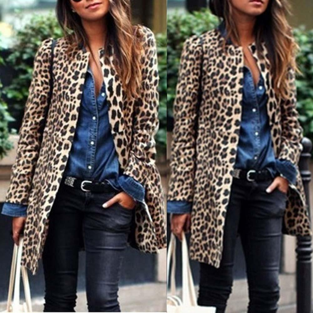 Women Fashion Leopard Sexy Winter Warm New Wind Coat Long Sleeve liilgal-liilgal