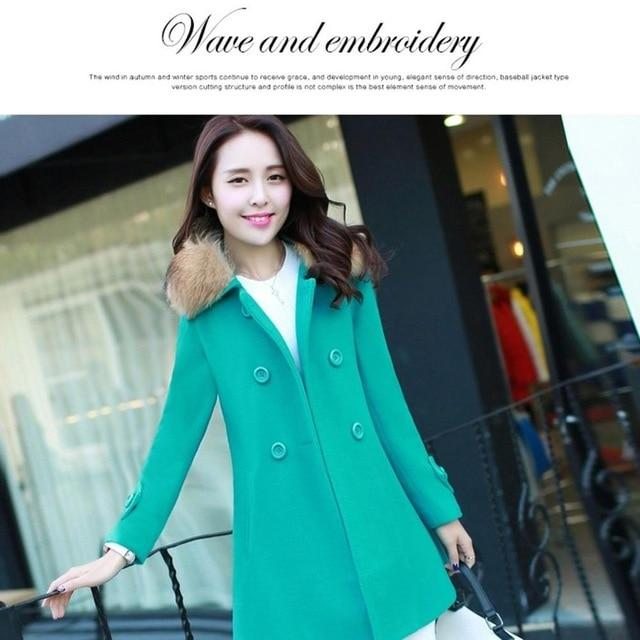 Autumn Winter Women Woolen Coat Lightweight Lady Overcoat Exquisite Casual Fur Collarliilgal-liilgal