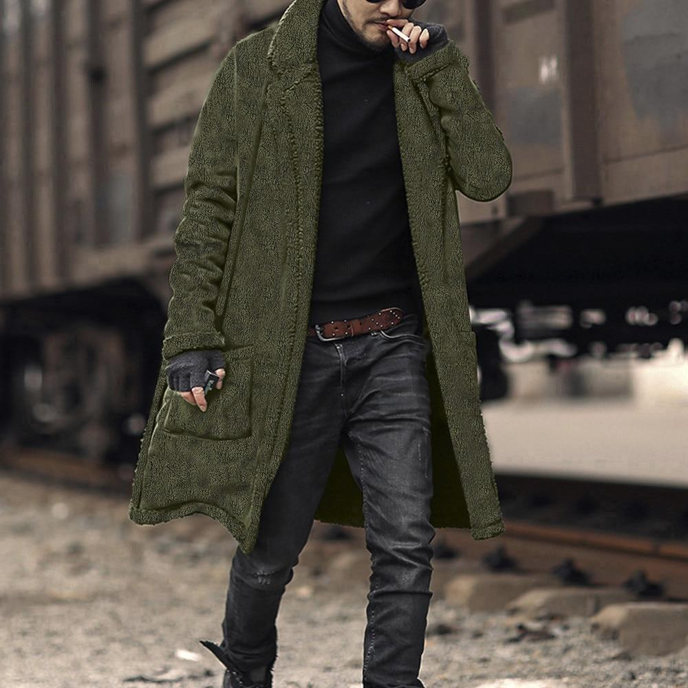 FeiTong Overcoat Winter Coat Men Loose warm plush cardigan long furry Double-Sidedliilgal-liilgal