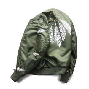 Feather Print Couple Flying Air Force Jacket Men Ma-1 Bomber Jacketliilgal-liilgal