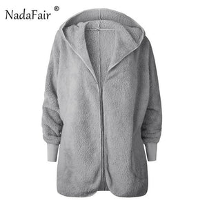 faux fur hooded jacket coats women autumn slim solid faux shearlingliilgal-liilgal