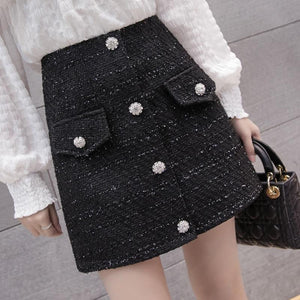 Korean Fashion Office Lady Elegant Tweed Skirt Autumn 2018 Skirts Womens Buttonsliilgal-liilgal