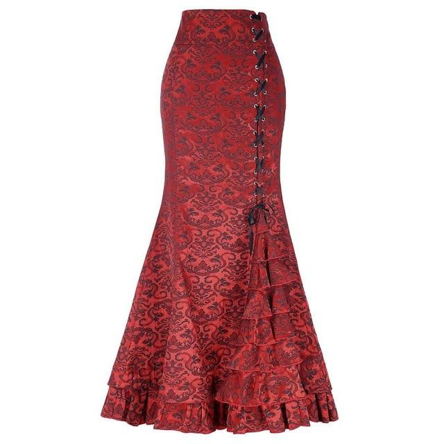 New Women Sexy Gothic Vintage Long Mermaid Skirt Floral Print Ruffe Laceliilgal-liilgal