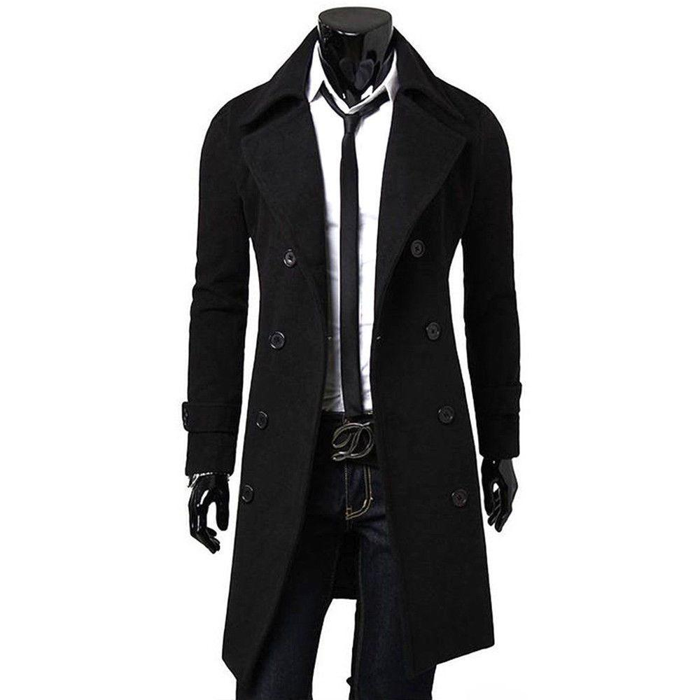 2018 New Style Fashion Solid Button Men Solid Double Breasted Slim Warmerliilgal-liilgal