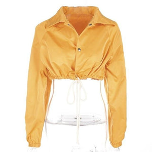 2018 Women Fall Yellow Solid Coat Drawstring Lace Up Crop Top Shortliilgal-liilgal