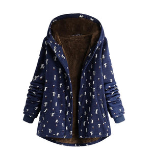 2019 New Parkas Female Women Winter Coat Winter Warm Outwear Cat Printliilgal-liilgal