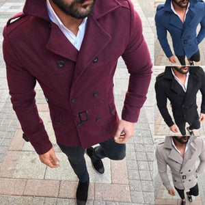 THEFOUND 2019 Casual Men Winter Wool Trench Coat Reefer Jacket Double Breastedliilgal-liilgal