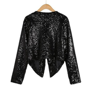2019 last stock lady Cardigan open stitch Women Long Sleeve Solid Sequinedliilgal-liilgal