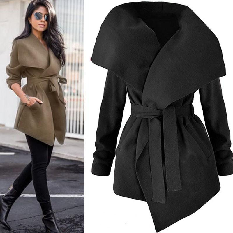 2018 Autumn Fashion Women Lapel Belt Long Trench Coat Elegant Lace Upliilgal-liilgal
