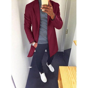Fashion Winter Men's Trench Long Jackets Coats Overcoat Classic Jackets Solid Slimliilgal-liilgal