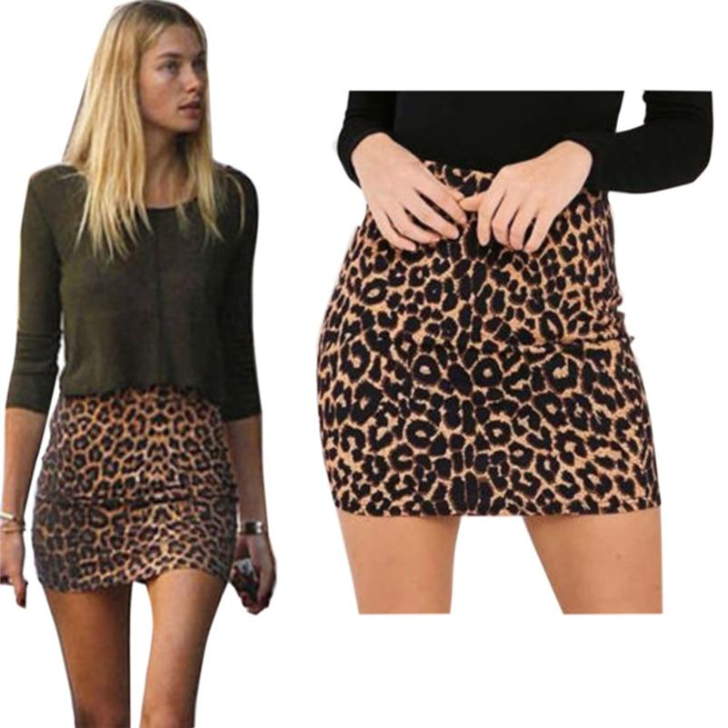 Harajuku Sexy Leopard print denim skirt women bodycon high waist pencil skirtliilgal-liilgal