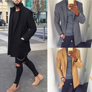 2019 Autumn Winter Men Casual Coat Thicken Woolen Trench Coat Business Maleliilgal-liilgal