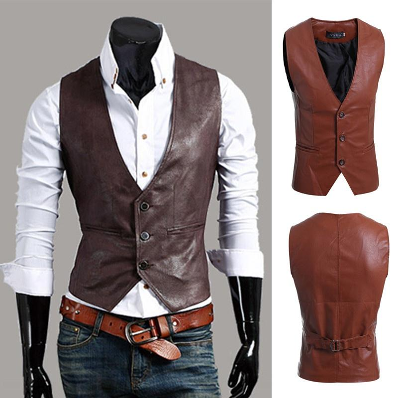 Geek New Autumn or Spring Men's Vest Simple Joker Leather Slimliilgal-liilgal