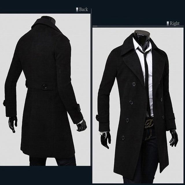 2018 Winter Men's Casual Thicken Woolen Trench Coat Business Coats Male Solidliilgal-liilgal