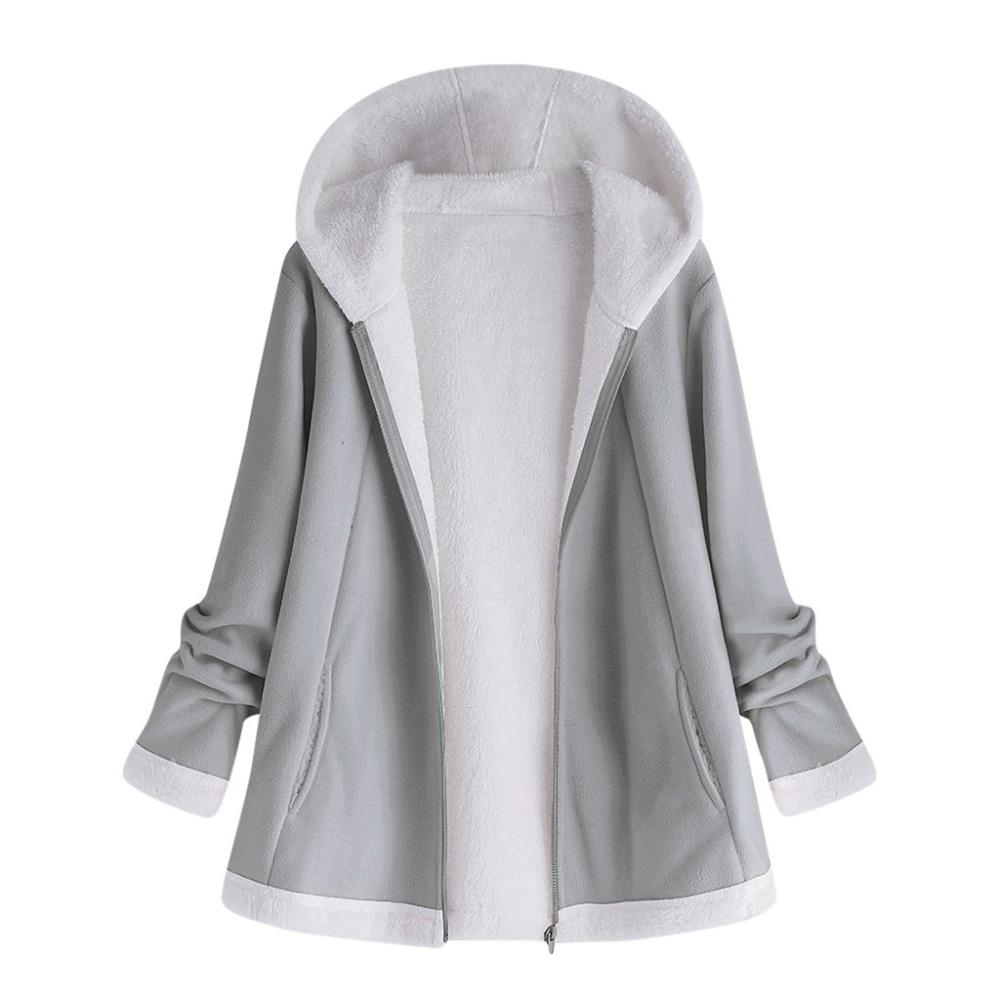women's autumn jacket Fashion Winter warm solid Pocket Zipper Long Sleeves Plushliilgal-liilgal