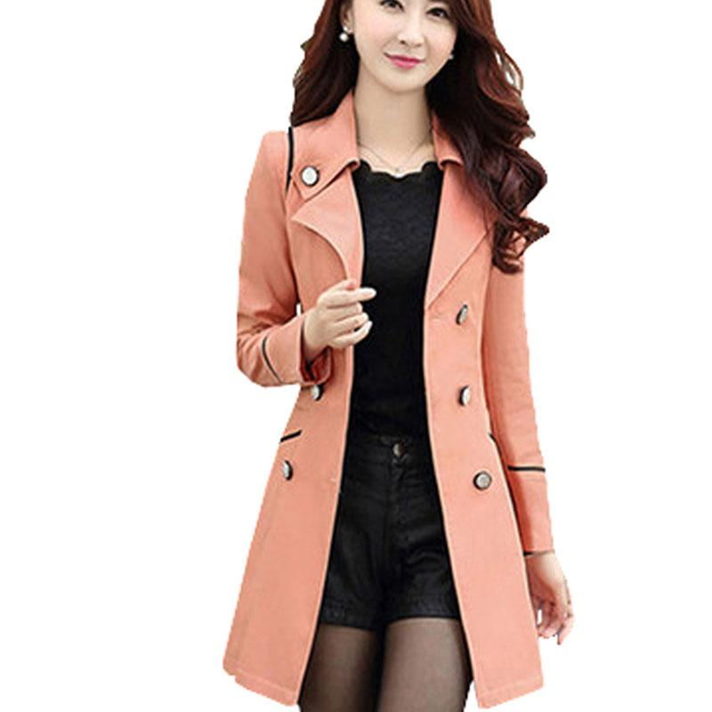 Coat Women 2018 Turn Down Collar Casual Trench Coat Female Solid Longliilgal-liilgal