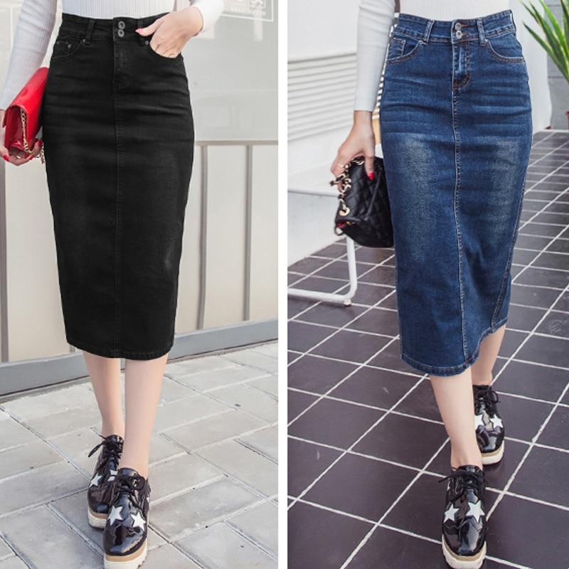 Denim Skirt Vintage Button High Waist Pencil Black Blue Slim Women Skirtsliilgal-liilgal